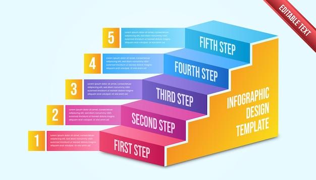 Infográfico de negócios cinco etapas. modelo de infográfico de cronograma moderno colorido.