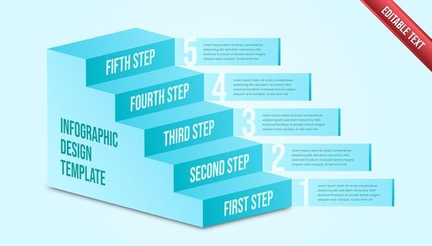 Infográfico de negócios cinco etapas. modelo de infográfico de cronograma moderno com tema tosca ou cor azul.