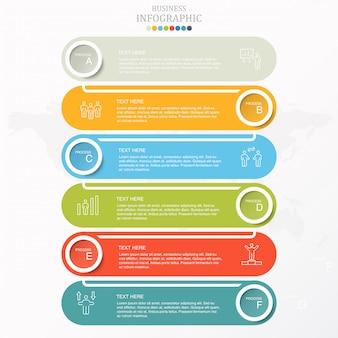 Infográfico de negócios colorido 6 etapas e ícones.