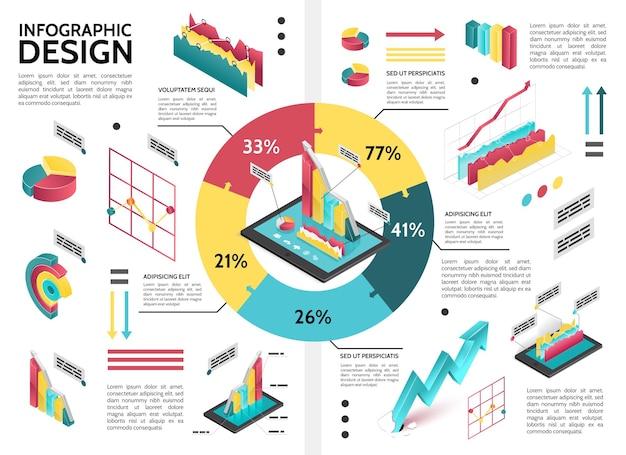 Infográfico de negócios colorido isométrico com gráfico de pizza de diagrama de ciclo e ilustração de dados de setas.