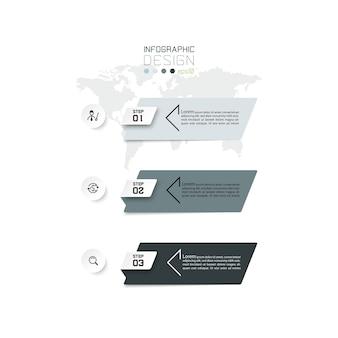 Infográfico de negócios com 3 etapas.