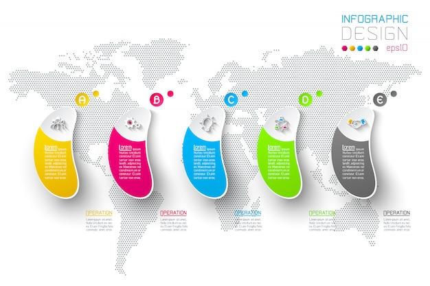 Infográfico de negócios com 5 etapas.
