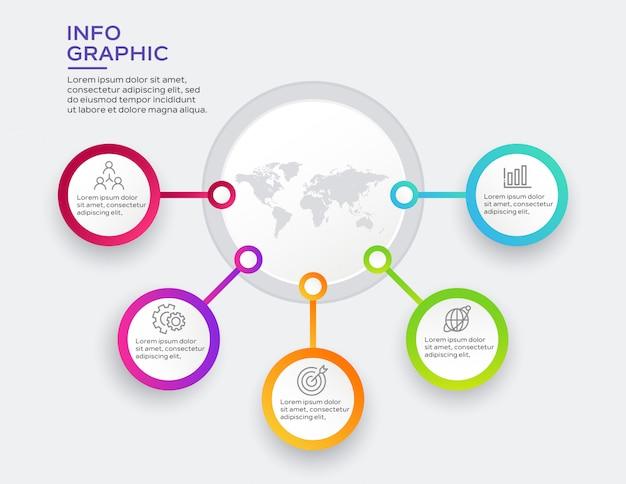 Infográfico de negócios com 5 opções