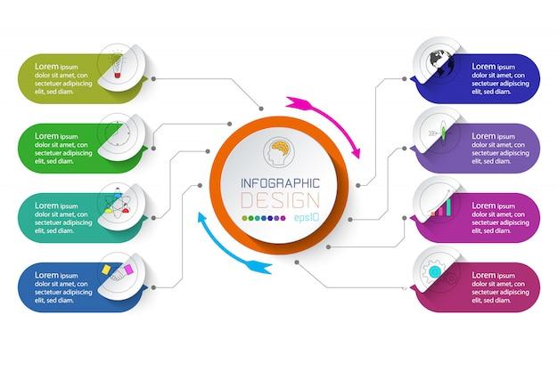 Infográfico de negócios com 8 etapas.