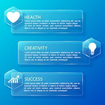 Infográfico de negócios com banners horizontais de vidro com hexágonos de texto e ícones brancos na ilustração azul