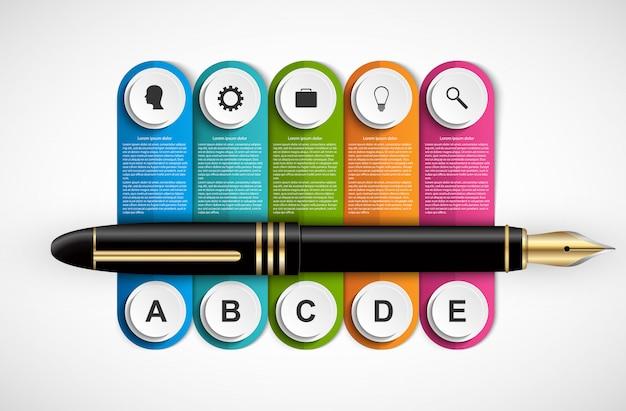 Infográfico de negócios com caneta e cinco opções.