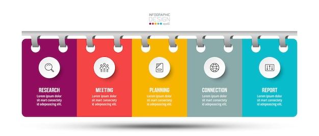 Infográfico de negócios com etapa ou opção.