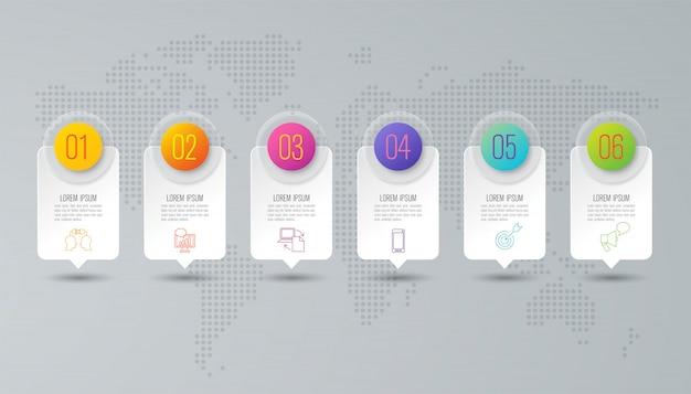Infográfico de negócios com etapas e opções