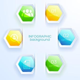 Infográfico de negócios com hexágono de cinco cores