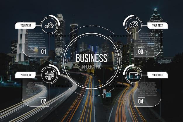 Infográfico de negócios com modelo de imagem