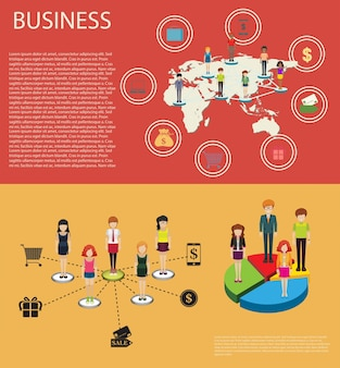 Infográfico de negócios com pessoas e gráficos