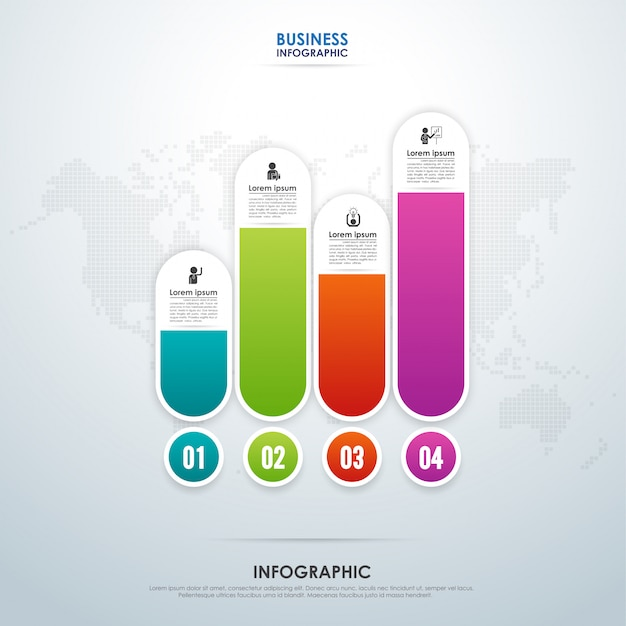 Infográfico de negócios com quatro etapas