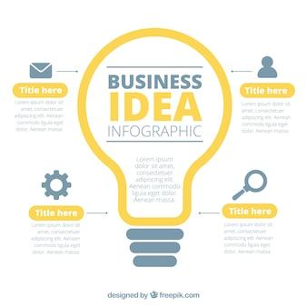Infográfico de negócios com uma lâmpada