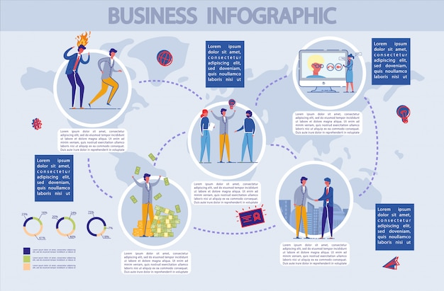 Infográfico de negócios conjunto com caracteres de pessoas.