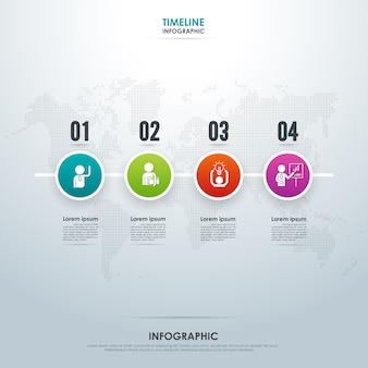 Infográfico de negócios da linha do tempo com quatro etapas