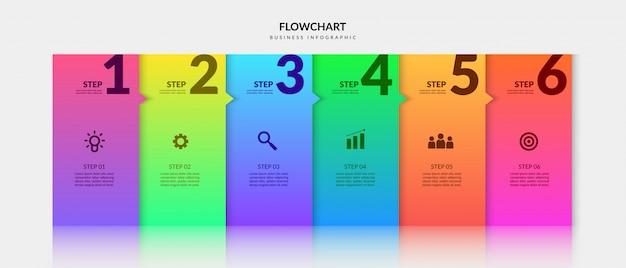 Infográfico de negócios de etapas de fluxo de trabalho colorido, elementos gráficos de fluxograma