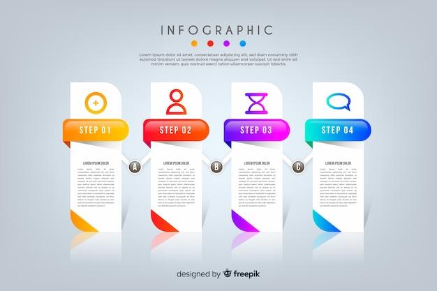Infográfico de negócios de etapas