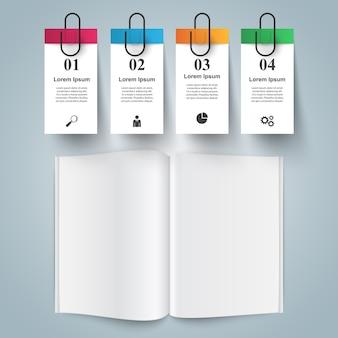 Infográfico de negócios de livro de papel de cor