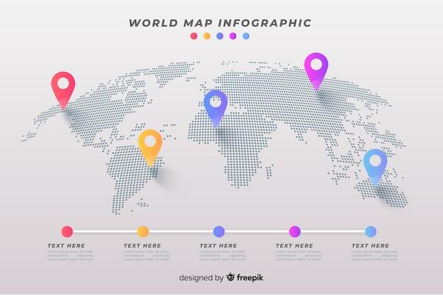 Infográfico de negócios de mapa mundo