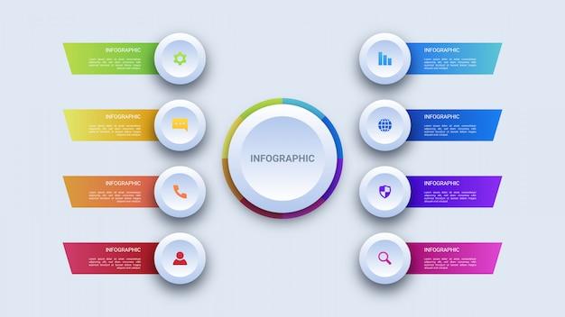 Infográfico de negócios de oito etapas de círculo