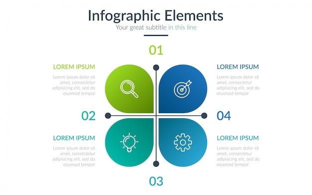 Infográfico de negócios de quatro etapas