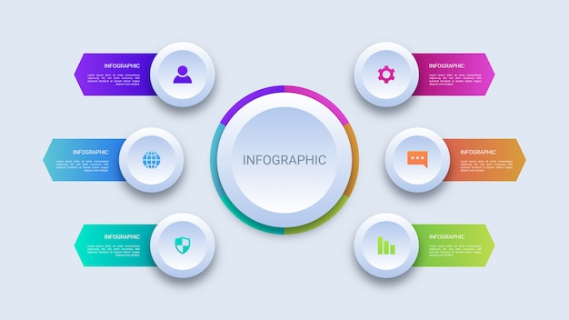 Infográfico de negócios de seis etapas do círculo