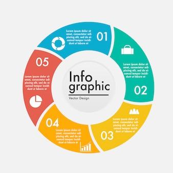 Infográfico de negócios financeiros no estilo de roda com espaço para texto