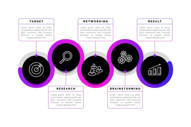 Infográfico de negócios gradiente de linha do tempo