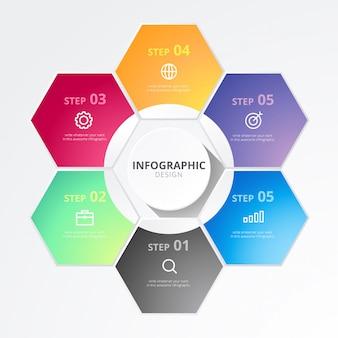 Infográfico de negócios hexagonal
