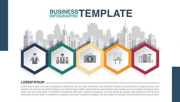 Infográfico de negócios hexágono