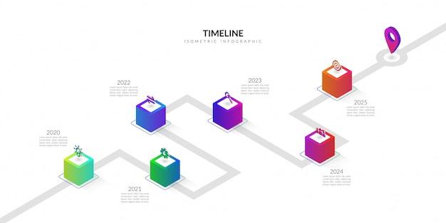 Infográfico de negócios isométrica timeline, elementos gráficos de fluxo de trabalho colorido