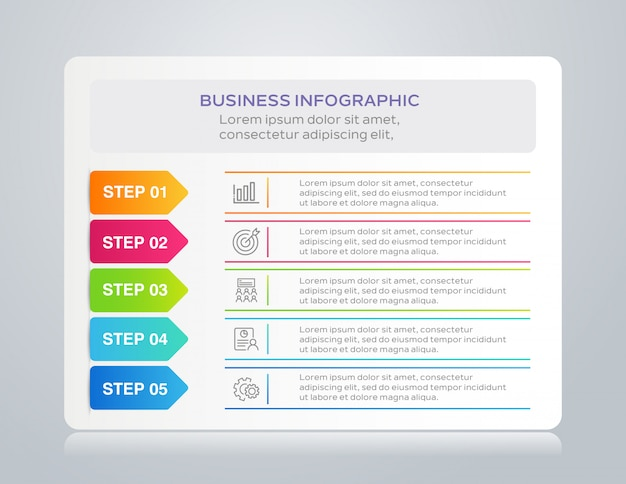 Infográfico de negócios modelo com 5 etapas