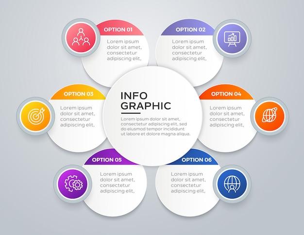 Infográfico de negócios moderno de 6 etapas