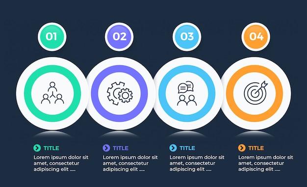 Infográfico de negócios modernos com 4 opções