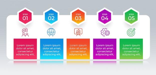 Infográfico de negócios modernos com 5 etapas de opções
