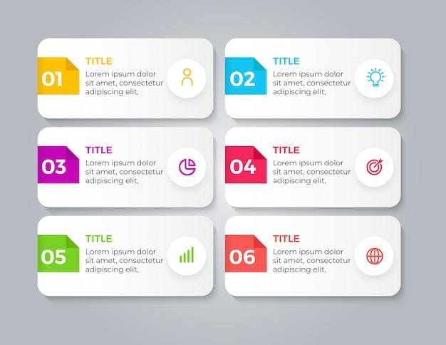 Infográfico de negócios modernos com 6 etapas