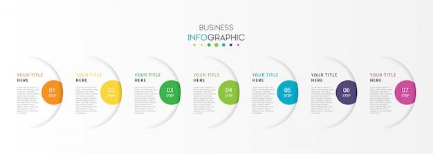 Infográfico de negócios modernos com 7 etapas ou opções