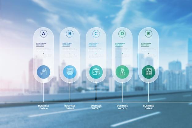 Infográfico de negócios modernos com foto