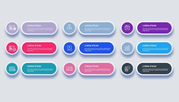 Infográfico de negócios modernos com ilustração de 9 opções