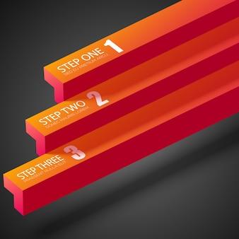 Infográfico de negócios na web com barras retas laranja e três etapas no escuro