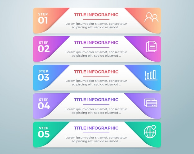 Infográfico de negócios passo colorido com 5 opções