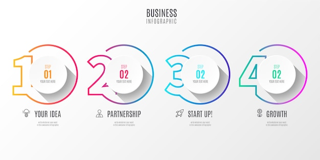 Infográfico de negócios passo colorido com números
