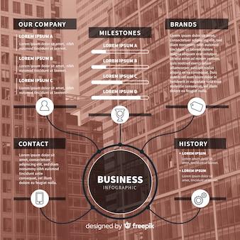 Infográfico de negócios plana com foto