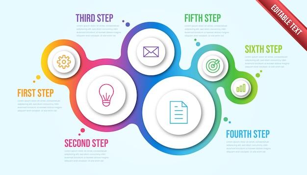 Infográfico de negócios seis etapas. modelo de infográfico de cronograma moderno de bolha colorida.