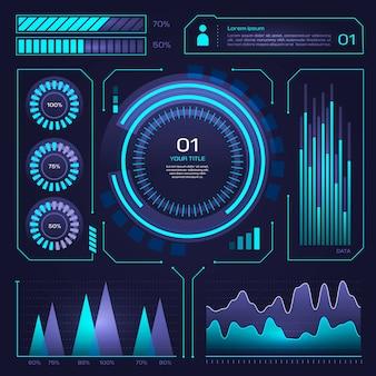 Infográfico de néon azul tecnologia