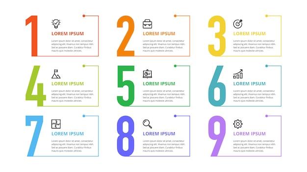 Infográfico de números para opções de negócios, etapas, processos