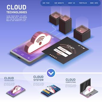 Infográfico de nuvem de computador isométrico 3d de conceito moderno de vetor com dispositivos