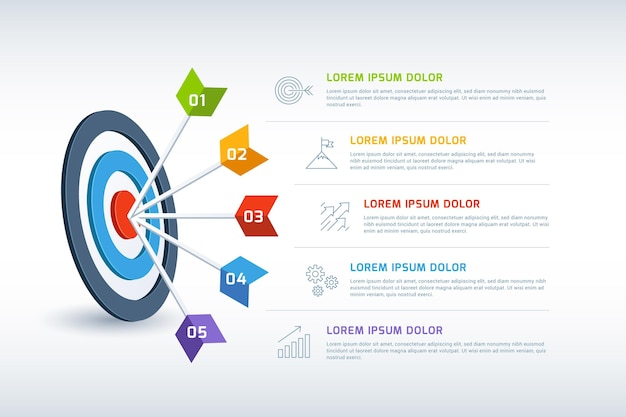 Infográfico de objetivos com detalhes diferentes