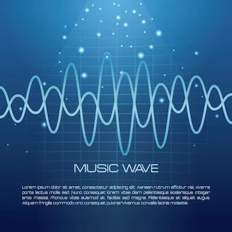 Infográfico de onda de música sobre fundo azul