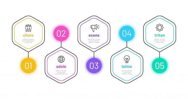 Infográfico de opção de linha. infografia de 5 números, gráfico de etapas do processo de negócios com ícones de estrutura de tópicos. modelo de diagrama de finanças do projeto